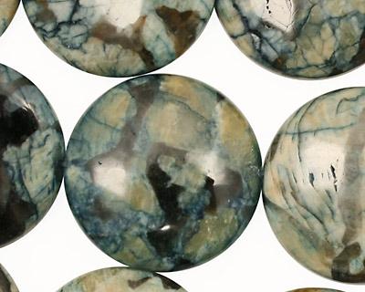 Mystic Blue Feldspath Puff Coin 25mm