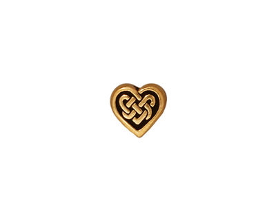 TierraCast Antique Gold (plated) Celtic Heart Bead 9x10mm