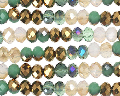 Gatsby Crystal Mix Faceted Rondelle 6mm
