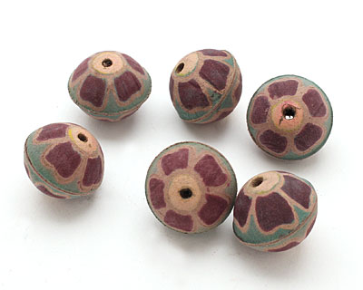 Hand Painted Purple Wildflower Leather Round Bead 23-28mm