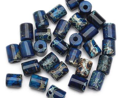 Midnight Blue Impression Jasper Barrel (Large Hole) 10x8mm