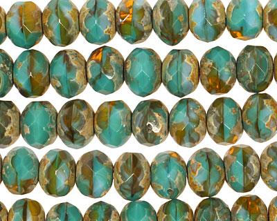 Czech Glass Amazon Rain Picasso Fire Polished Rondelle 6x9mm