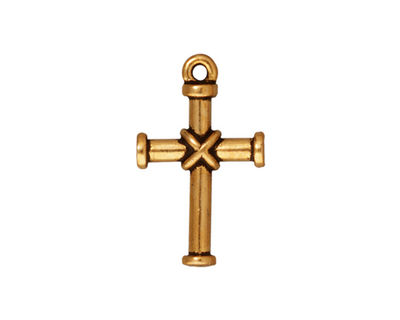 TierraCast Antique Gold (plated) Wrapped Cross Charm 14x23mm