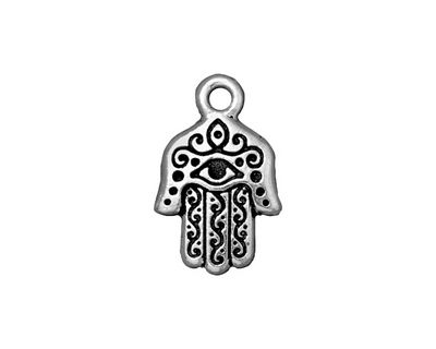 TierraCast Antique Silver (plated) Hamsa Hand Charm 13x21mm