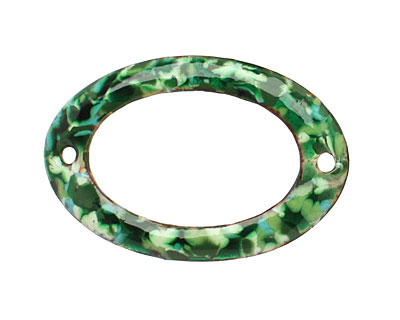 C-Koop Enameled Metal Green Mix Large Oval Link 34-38x24-25mm