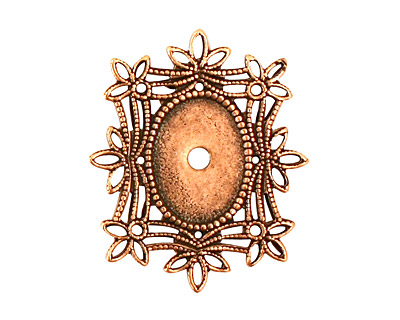 Stampt Antique Copper (plated) Floral Filigree Oval Setting 10x14mm