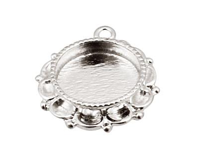 Nunn Design Sterling Silver (plated) Mini Ornate Circle Bezel Link 25x19mm