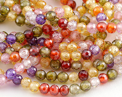 Multi Color Cubic Zirconia Faceted Round 4mm