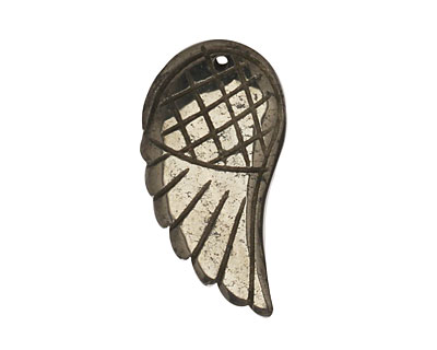 Golden Pyrite (silver tone) Carved Wing 15x30mm