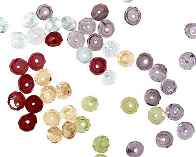 Multi Gemstone (Tanzanite, Aquamarine, Amethyst Citrine, Peridot) Faceted Rondelle 3mm