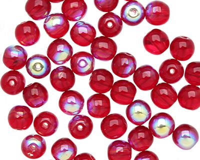 Czech Glass Ruby AB Round 6mm