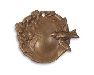 Vintaj Natural Brass Bird Garden Cameo Pendant 27x22mm
