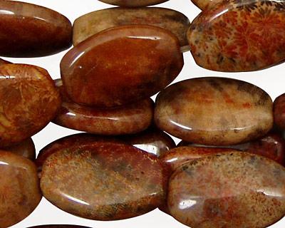 Fossil Jasper (red) Flat Oval 18x13mm