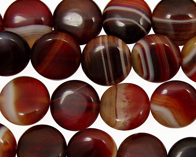 Brown Lace Agate Puff Coin 12mm