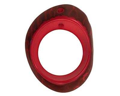 Tagua Nut Red Open Slice 33-45x24-36mm