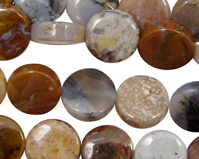 Rainbow Crazy Lace Agate Puff Coin 12mm