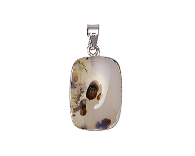 Natural Agate Rectangle Pendant w/ Silver Plating 15-17x25-27mm