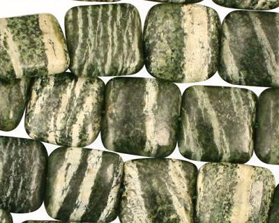 Green Zebra Jasper Puff Square 12mm