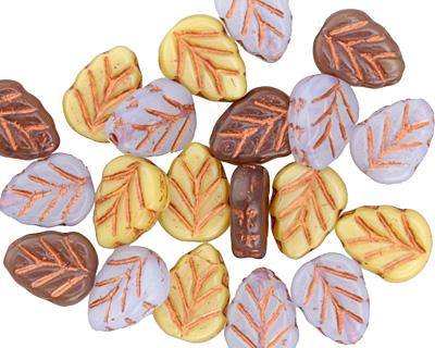 Czech Glass Spring Mix Bronzed Leaf 10x8mm