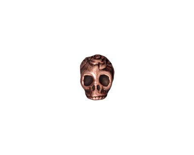 TierraCast Antique Copper (plated) Large Hole Skull Bead 7x10mm
