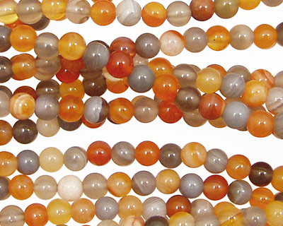 Red & Gray Botswana Agate Round 4mm