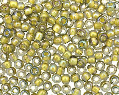 TOHO Luster Black Diamond (with Opaque Yellow Lining) Round 6/0 Seed Bead