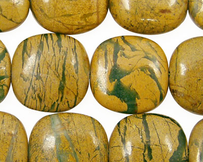Green Vein Jasper Puff Square 18mm