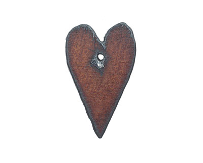 The Lipstick Ranch Rusted Iron Long Heart Pendant 24x39mm