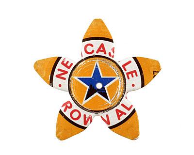 Trinket Foundry Orange w/ Blue Star Large 5 Petal Bottle Cap Flower 34mm