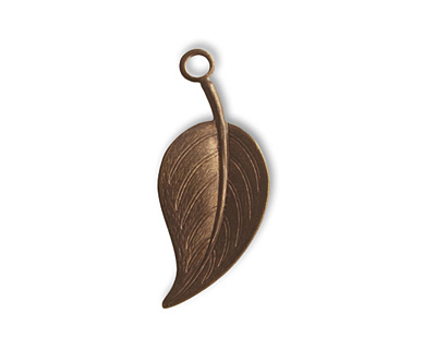 Vintaj Natural Brass Catalpa Leaf Charm 27x12mm
