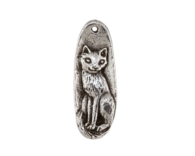 Green Girl Pewter Curious Cat Pendant 15x40mm