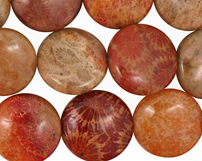 Fossil Jasper (rose) Puff Coin 16mm