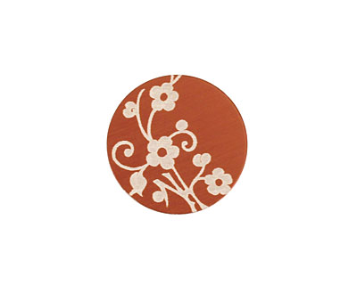 Lillypilly Bronze Floral Vine Anodized Aluminum Disc 19mm, 24 gauge