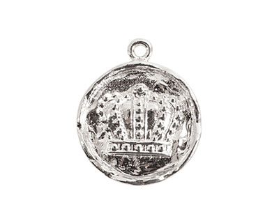 Nunn Design Sterling Silver (plated) Small Round Crown Charm 21x24mm
