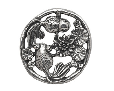 Green Girl Pewter Goldfish in a Pond Focal