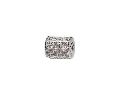 Silver (plated) CZ Micro Pave Lantern 9x7mm