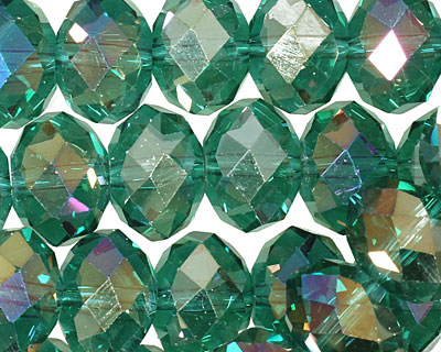 Emerald AB Crystal Faceted Rondelle 14mm