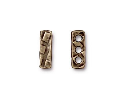 TierraCast Antique Brass (plated) Rock & Roll 3-Hole Bar 5x14mm