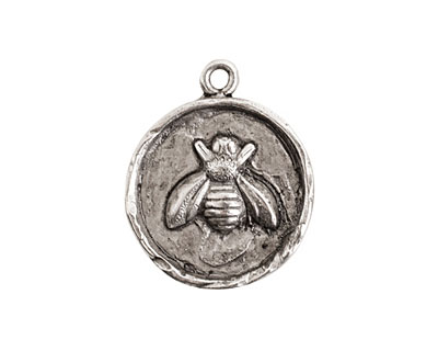 Nunn Design Sterling Silver (plated) Small Round Bee Charm 20x25mm