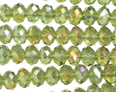 Olivine AB Crystal Faceted Rondelle 8mm