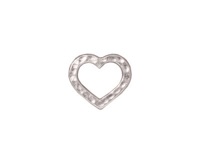 TierraCast Rhodium (plated) Hammertone Heart Link 14x12mm