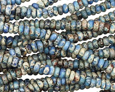 Denim Blue Impression Jasper Rondelle 4mm