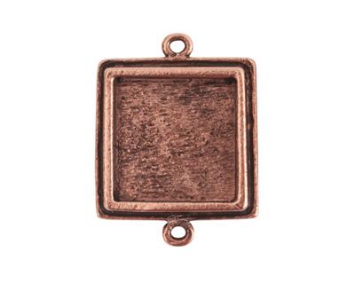 Nunn Design Antique Copper (plated) Traditional Square Bezel Pendant Link 28x21mm