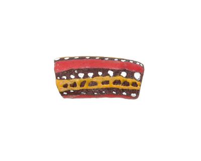 African Handpainted in Red/Saffron/White Stripes on Brown Powder Glass (Krobo) Bead 22-27x10-11mm