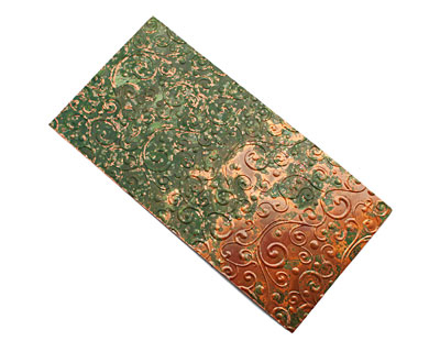 Lillypilly Verde Scrolling Vine Embossed Patina Copper Sheet 3