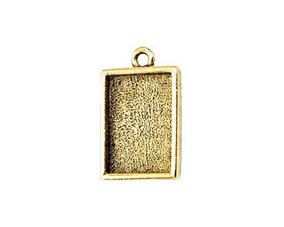 Nunn Design Antique Gold (plated) Mini Rectangle Frame Charm 18x12mm