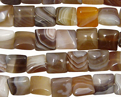 Botswana Agate (rich color) Puff Square 8mm