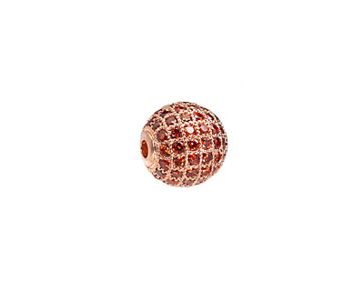 Rose Gold (plated) & Hyacinth CZ Micro Pave Round 10mm
