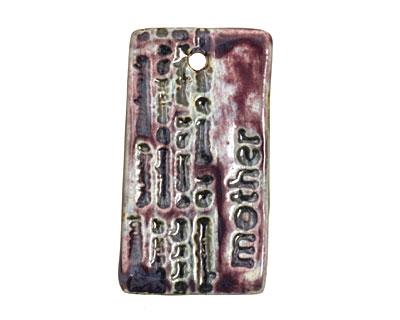 Earthenwood Studio Ceramic Amethyst Iron Mother Text Pendant 25x45mm