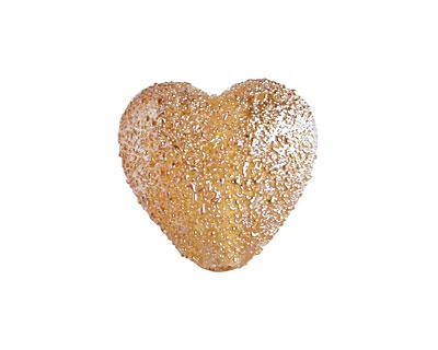 Grace Lampwork Golden Yellow Metallic Heart 19-20mm
